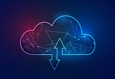 cloud computing polygonal wireframe technology concept backgroun
