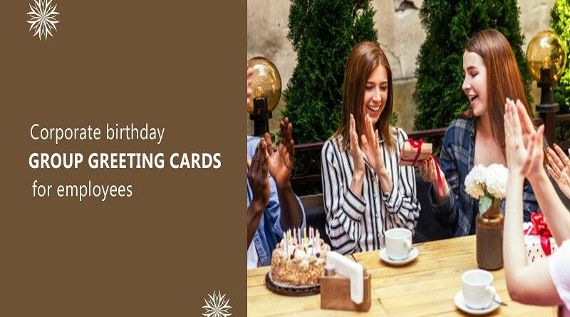 Corporate birthday group greeting card for employees